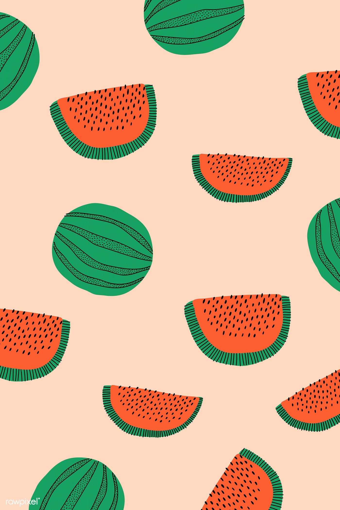 Download premium vector of Watermelon patterned pastel orange background