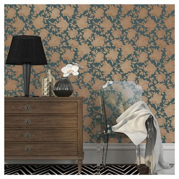 Tempaper Silhouette Removable Wallpaper Peacock Blue and