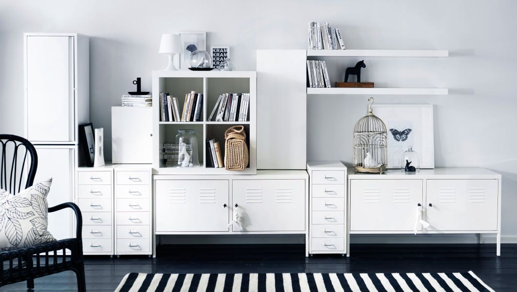 Weisse Aufbewahrungslsung Mit HELMER Schubladenelementen Rollen IKEA PS Schrnken JOSEF LACK