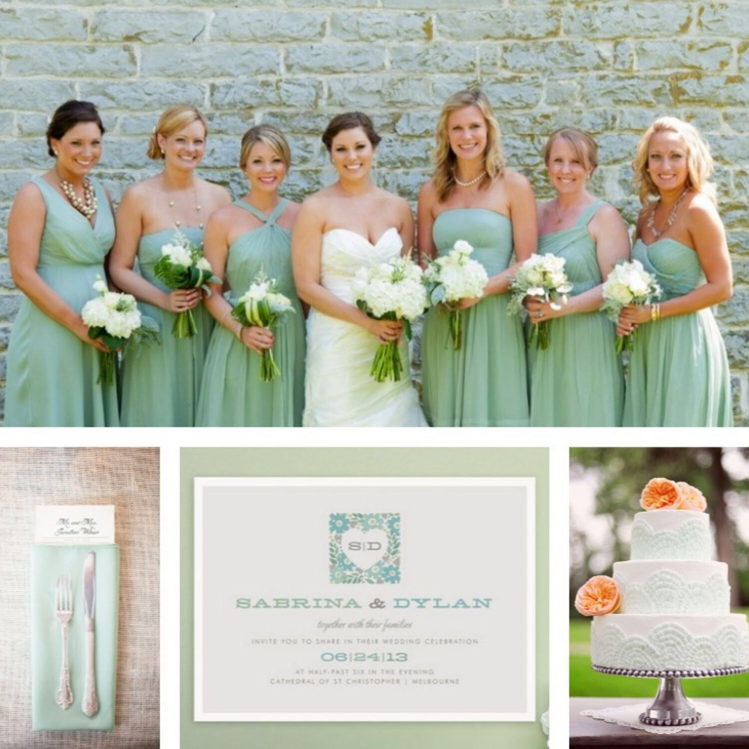 Novia y sus damas mintwedding boda color menta wedding 8 ultra pretty mint green wedding accents that are almost lovely enough to make it feel like spring around here almost ombrellifo Images