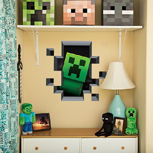 minecraft creeper wall decal minecraft pinterest chambres jeux vid os et chambre minecraft. Black Bedroom Furniture Sets. Home Design Ideas