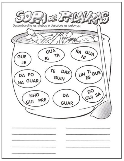 Top Plano de Aula: sílabas GUA - GUE - GUI | atividades escolares  DI48