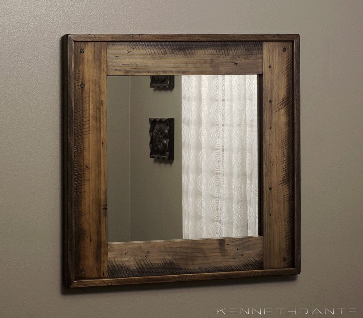 Bathroom mirrors wood frame - Reclaimed Wood Mirror Bathroom Mirror Brown W Earthy Neutrals Distressed Wood Frame Rustic Wall Mirror Decorative