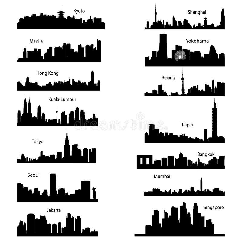 Silhouettes Of Asian Cities Detailed Silhouettes Of Asian Cities Sponsored Asian Silhouettes Cit City Outline City Skyline Silhouette City Silhouette
