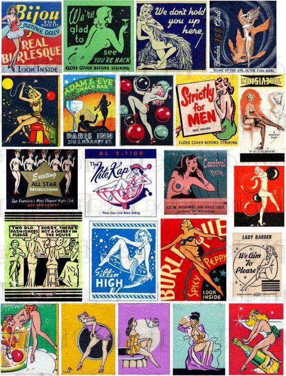dadc1b939941 22 Vintage Pinup Matchbooks. Vintage MATCHBOOK Printable Collage DIGITAL  Download. Vintage Risque Ma Rockabilly