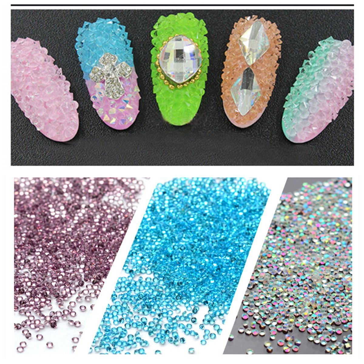 $4.95 (Buy here: http://appdeal.ru/73bb ) Nail Beads Glass Nail Art Caviar Marbles Microbeads Nail Jewelry Stick Transparent Crystal Diamond Micro Bead for Nail Makeup for just $4.95