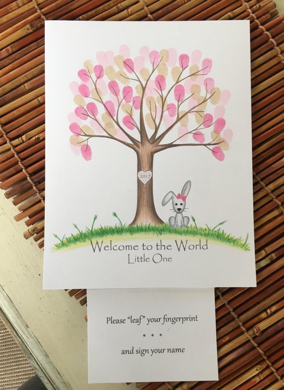 •• Personalised Fingerprint Tree Guest Book Peter Rabit ••