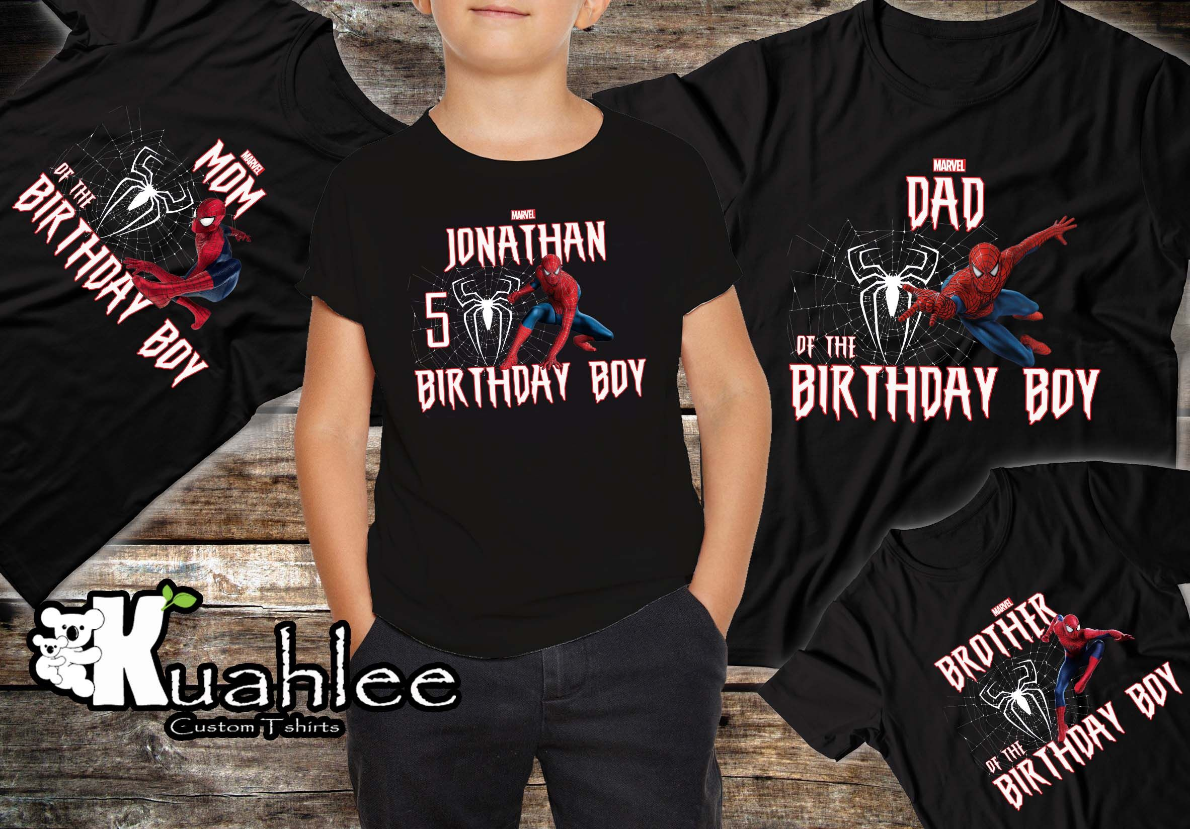 f3e827b9 Spiderman Birthday Party Theme Shirt. Family Birthday Shirts. Spiderman Tee