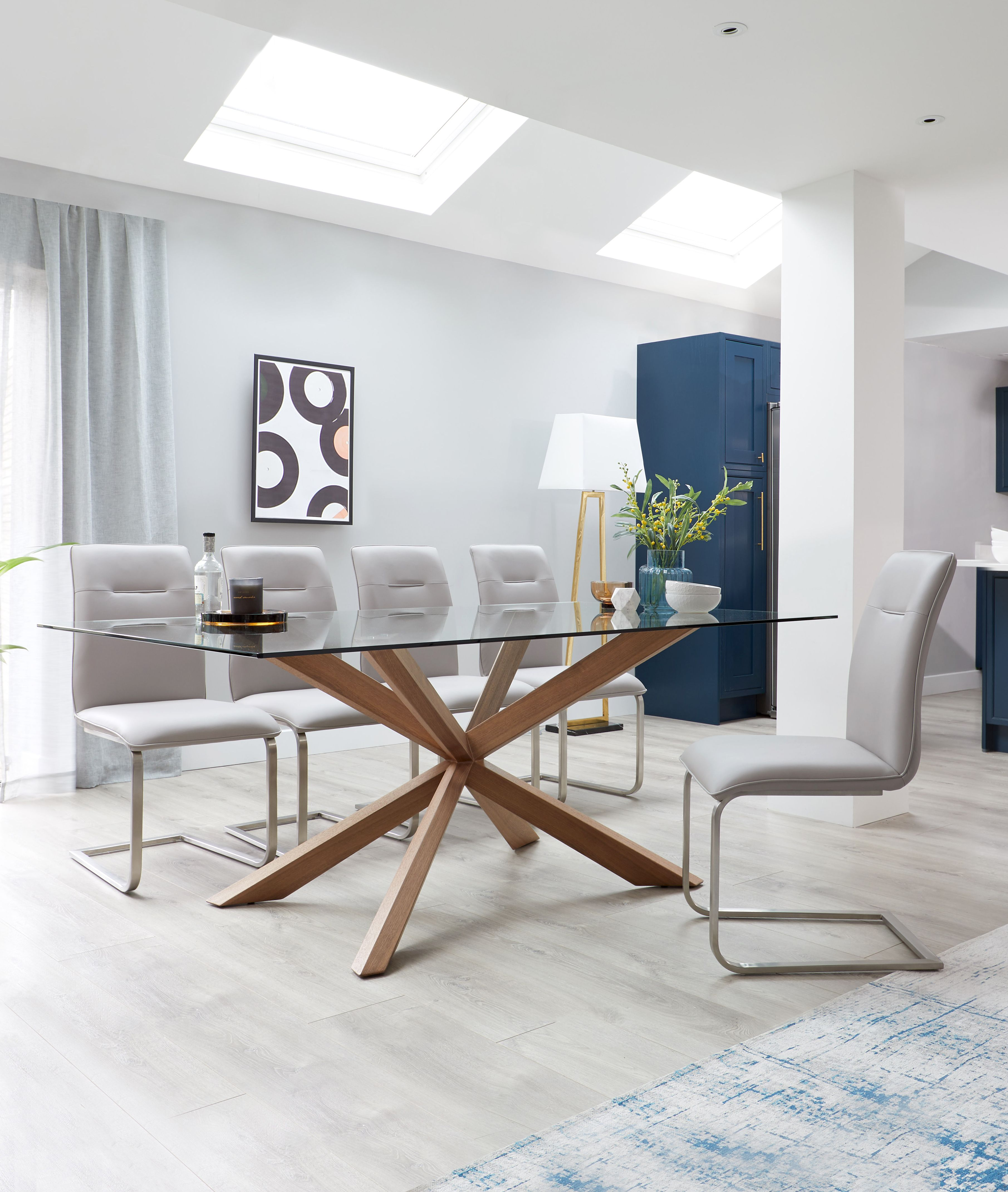 17+ Glass dining table and 6 faux leather chairs Ideas