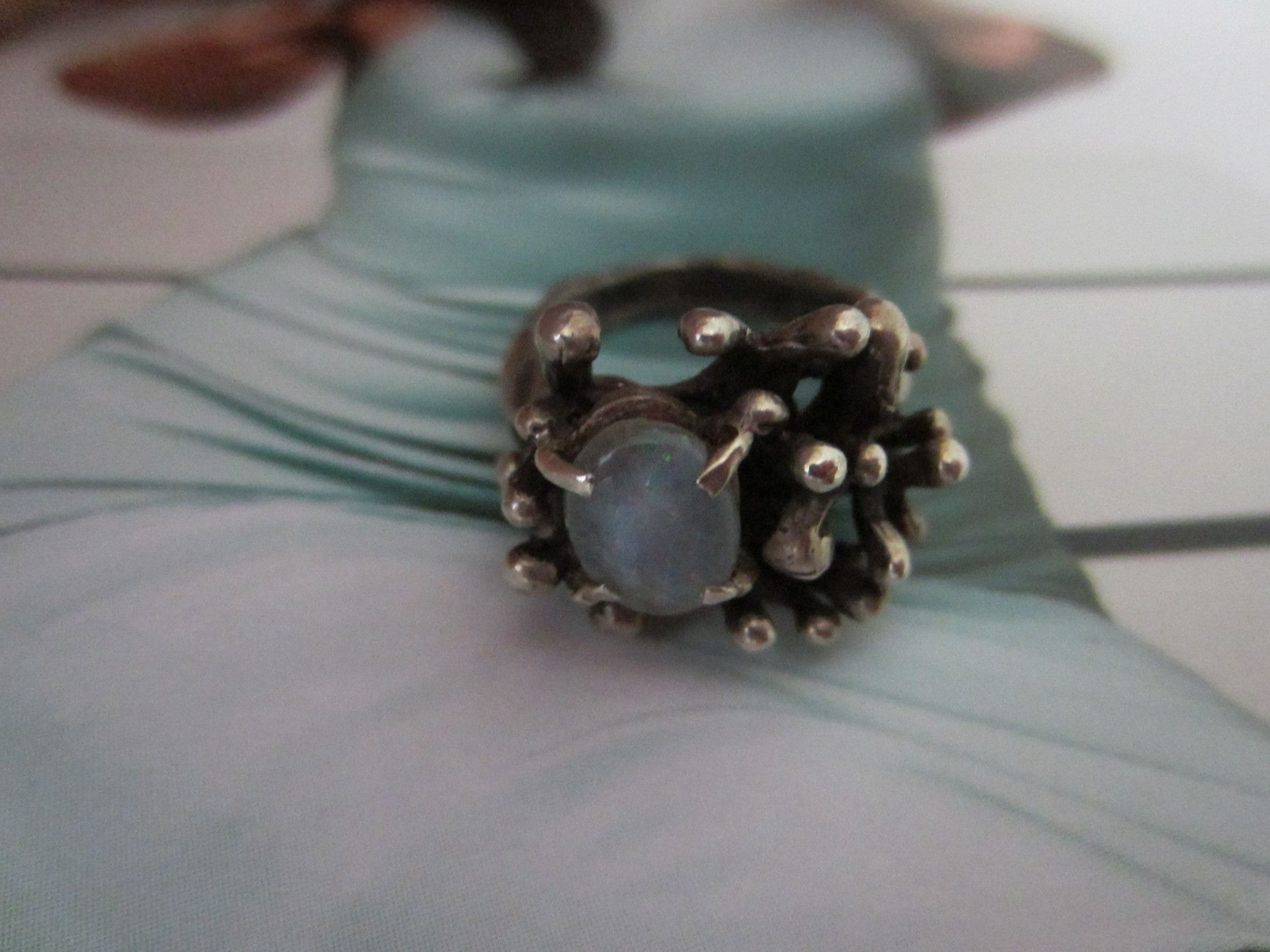 Blue Opal Ring Abstract White Metal Setting