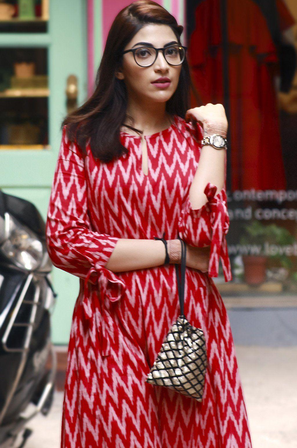 c10a06540b Red Ikat Pleats Dress | sangeeta | Dresses, Ikkat dresses, Kurta designs