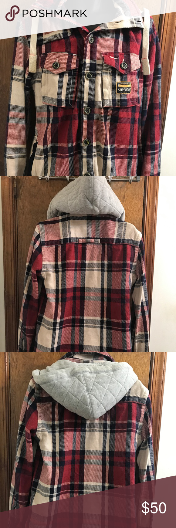 Off white flannel coat  Superdry The Huntsman Hoody Vtg Thick Shirt Jacket Superdry The