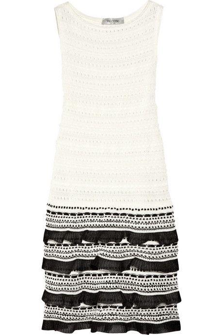 Valentino-Tiered-open-knit-cotton-blend-tank-dress-1