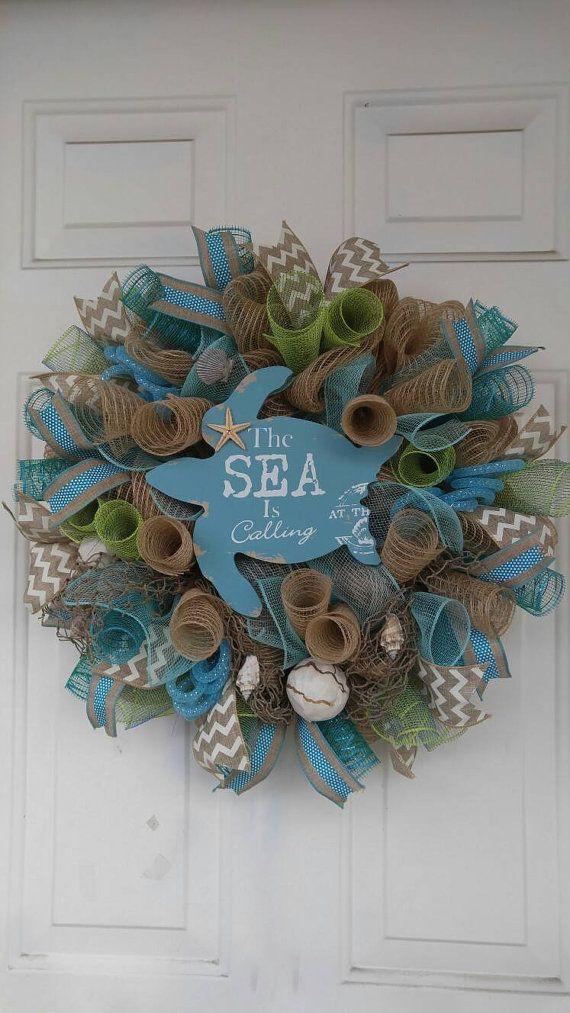 Beach Mesh Wreath Sea Turtle Wreath Ocean By Wreathdesignsbylinda