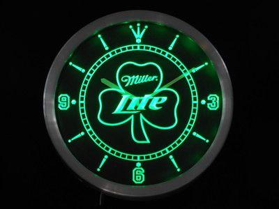 Nc0006 G Miller Lite Shamrock Beer Bar Neon Sign Led Wall Clock Wholesale Dropshipping Led Wall Clock Neon Signs Wall Clock Light