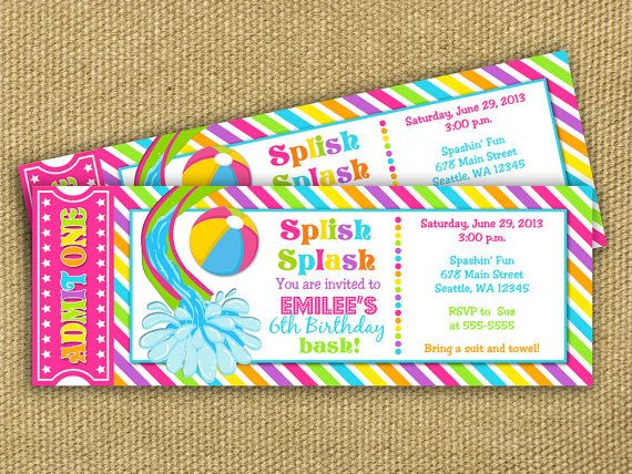 Pool Party Birthday Ticket Invitation - Waterslide - FREE thank you