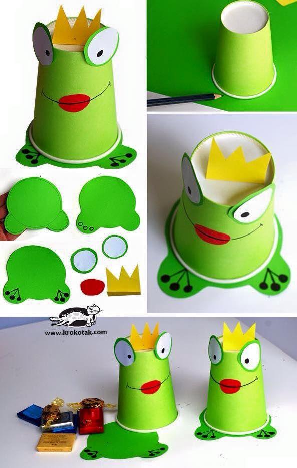 Frog Prince Made Out Of A Paper Cup