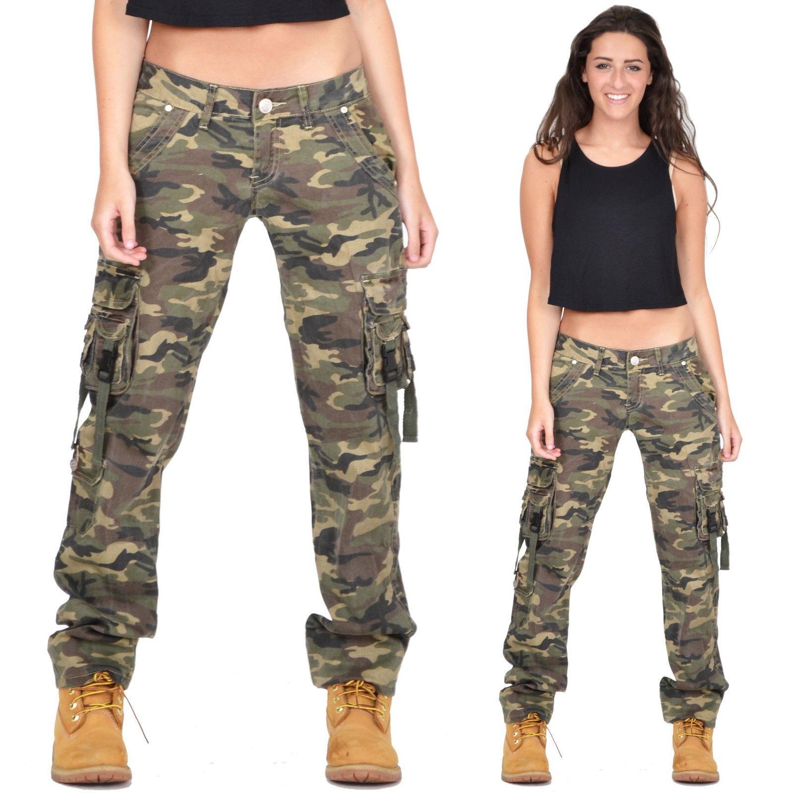 Details about Ladies Womens Army Military Green Camouflage Cargo ...