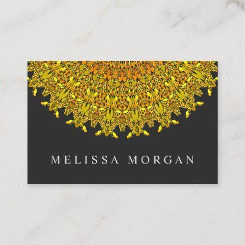 Golden Floral Ornate Mandala Business Card for $23.15 #fitness #salon #mandala #GraphicDesign #Spiri...