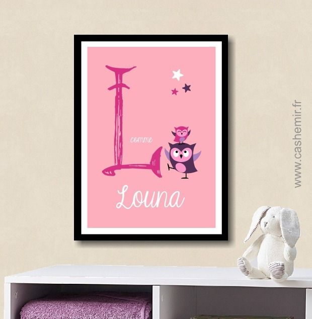 affiche pr nom lettre b b enfant personnalis e plaque de porte chambre fille cadeau de. Black Bedroom Furniture Sets. Home Design Ideas