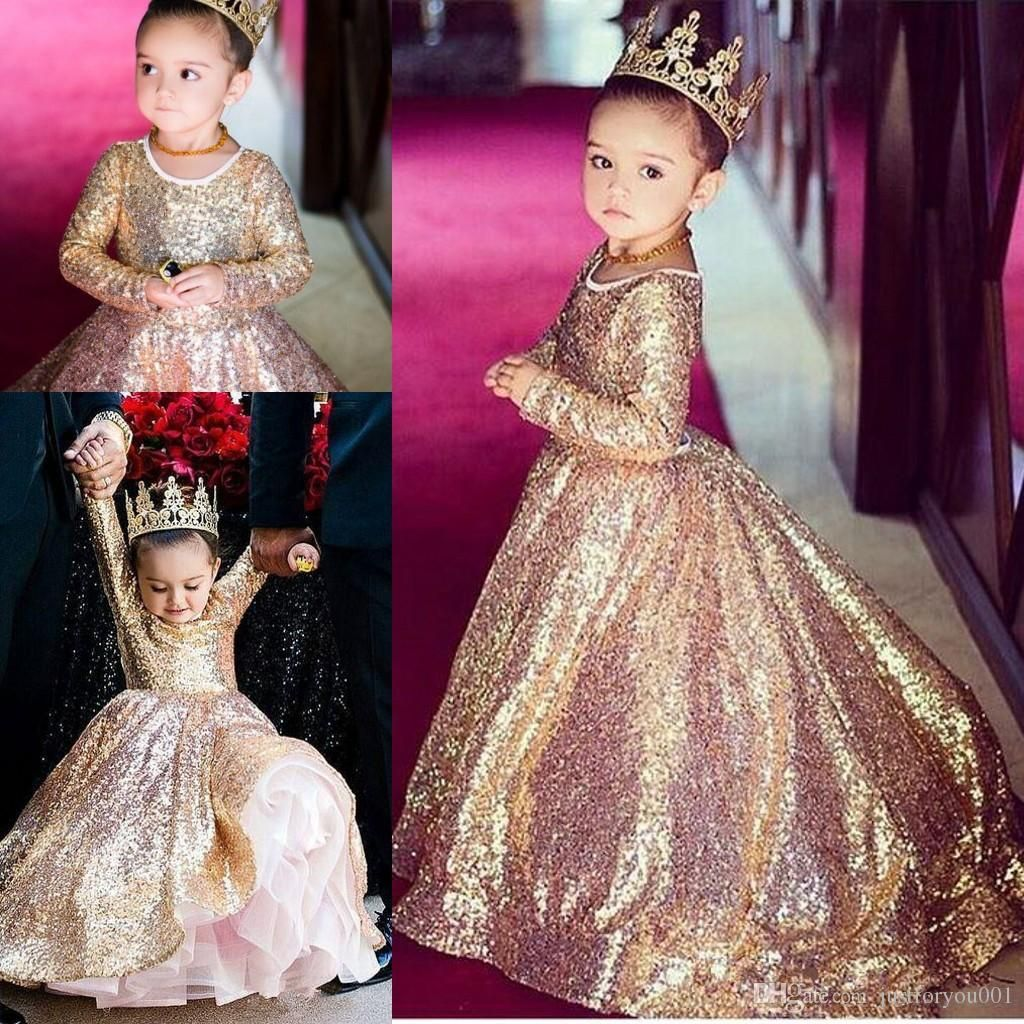 c4aac1eb7 Gold Sequin Toddler Ball Gowns Girls Pageant Dresses Jewel Long ...