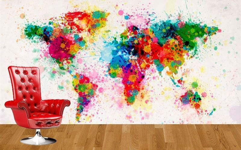Artsy world map wall mural from customized walls boys room michael tompsett premium thick wrap canvas wall art print entitled world map paint drops none gumiabroncs Choice Image