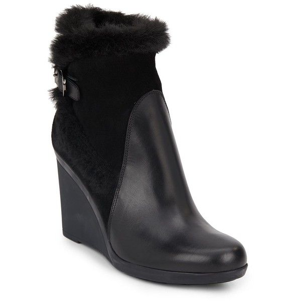 6da9b484bb9 Aquatalia by Marvin K Natalie Faux Fur-Trimmed Leather   Suede Wedge...  ( 155) ❤ liked on Polyvore featuring shoes