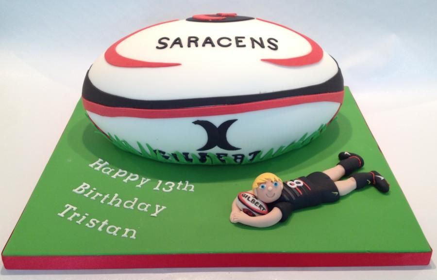 Saracens Rugby Ball Cake By Jackie S Cakery Rugby Cake Rugby Birthday Rugby Ball
