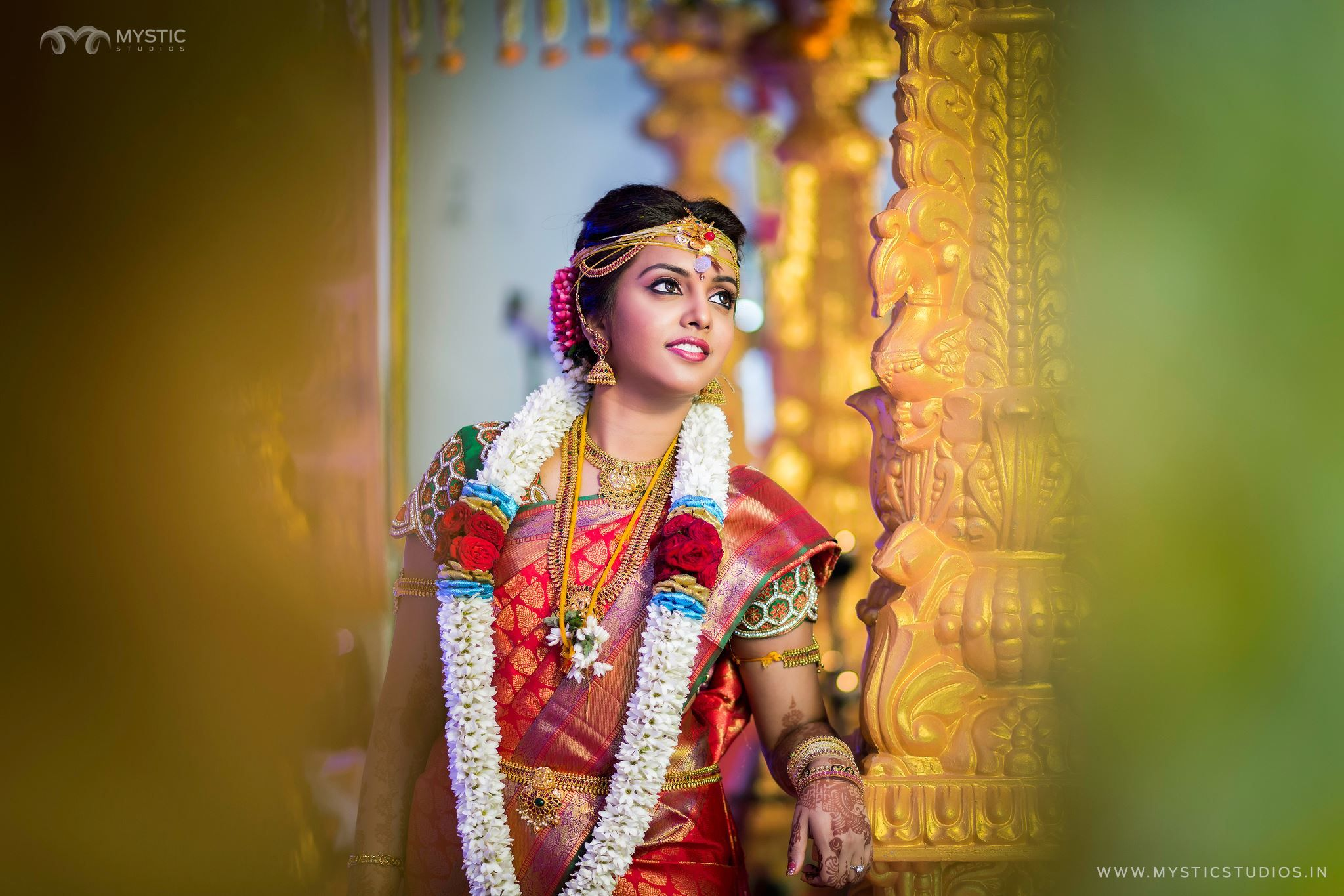 Cute red saree bride bridal makeup artist bridal makeup