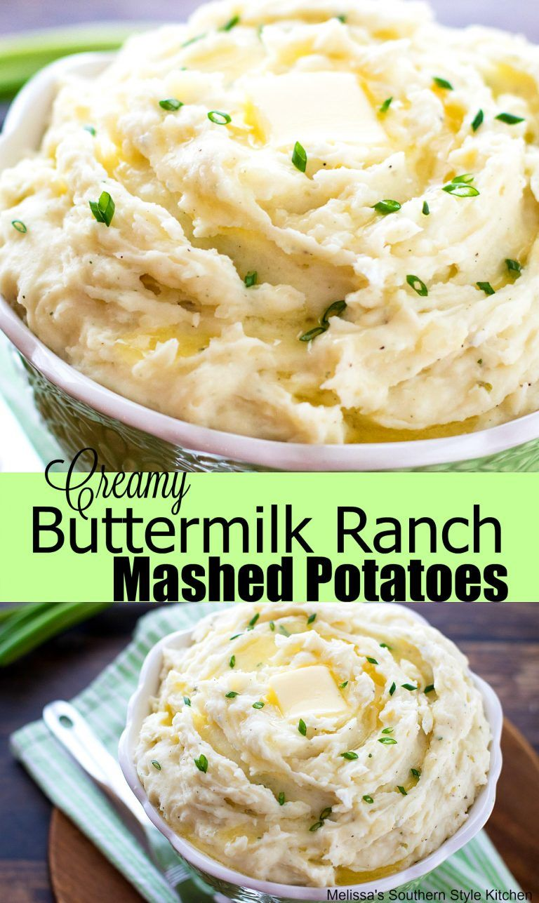 Creamy Buttermilk Ranch Mashed Potatoes Mashedpotatoes Recipes Potatorecipes Holdaysides Foodie Ranchdressing Recipe Ranch Mashed Potatoes Potatoes Food