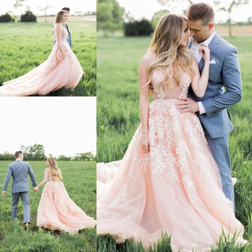 Blush Wedding Dress with Lace Flowers