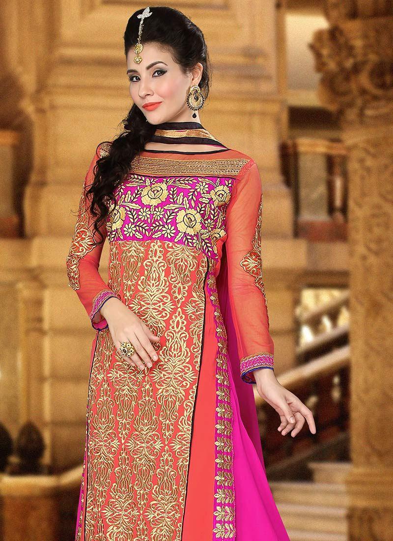 Pink n purple dress  Orange N Pink Georgette Straight Suit  Mod dresses  Pinterest