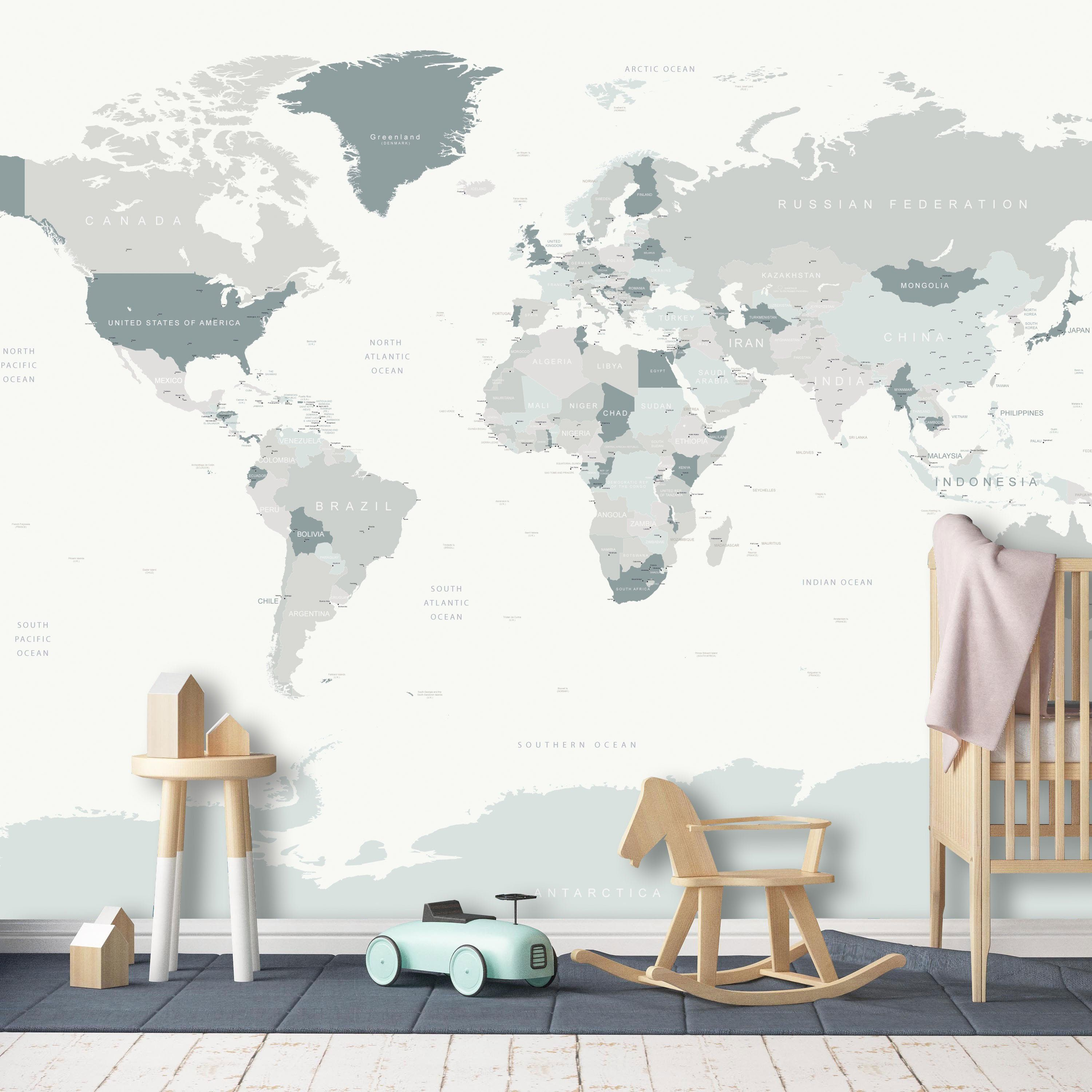 World Map Wall Mural in Neutral Colors, Detailed World Map