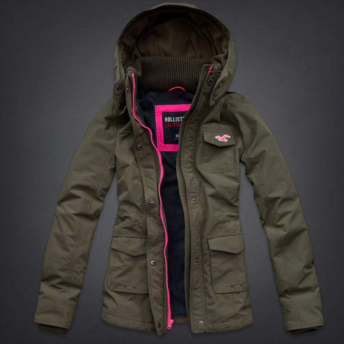 Weather Fleece Lined Jacket | Olive jacket, Hollister and Weather