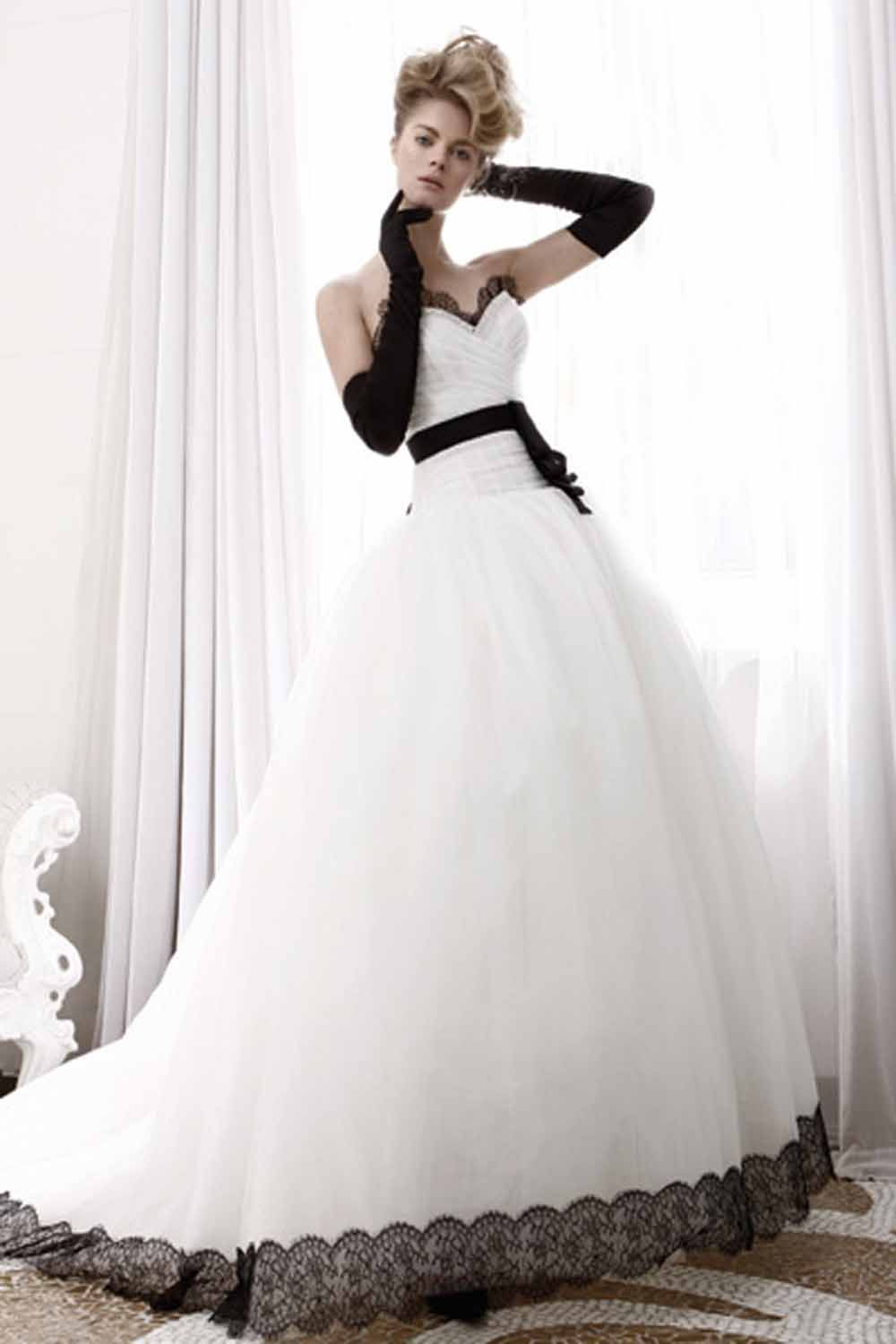 Black white lace wedding dress
