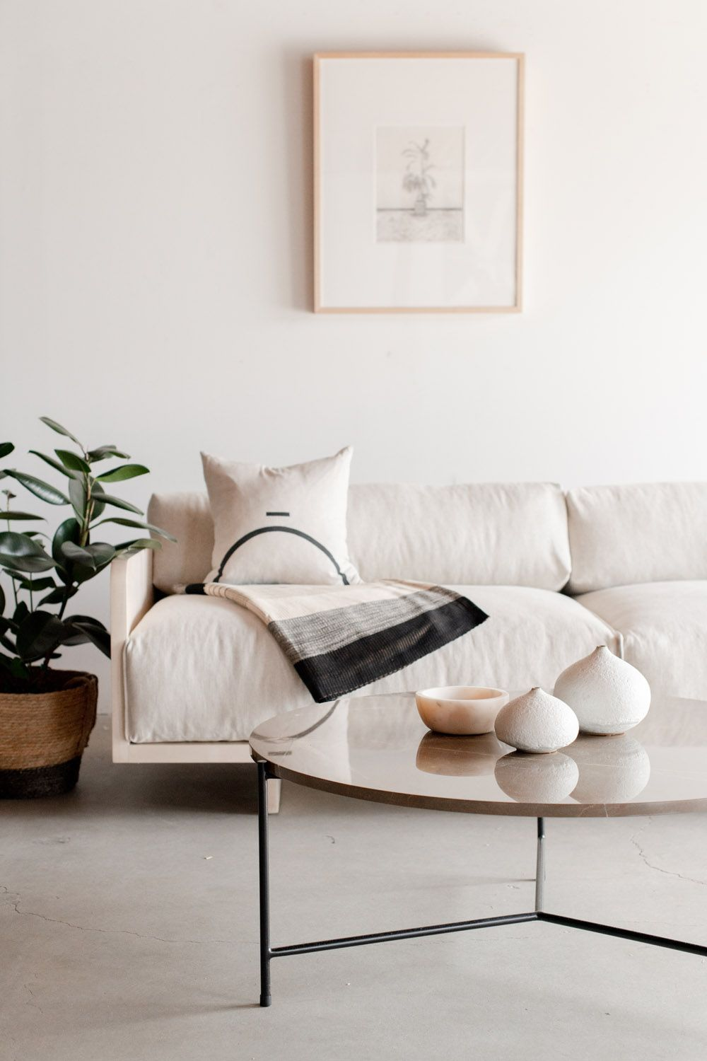 Love The Peaceful Vibe In This Living Room Offwhite Walls And Sofa And Monochromatic Art And A Minimal Living Room Living Room Decor Neutral Home Living Room #sofa #ideas #for #a #small #living #room