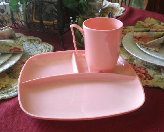 Antique Vintage Mid Century Hard Plastic Pink by NeldaMaesCloset $14.50 & Antique Vintage Mid Century Hard Plastic Pink Divided Dinner Plate ...