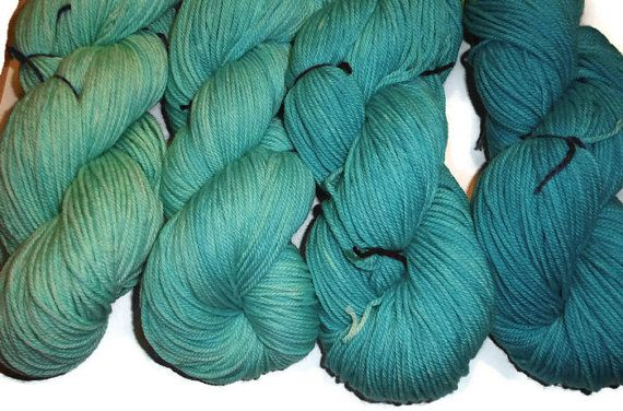 Gradient Turquoise Superwash Merino Yarn Set DK Weight Merino Yarn - Turquoise Double Knit Yarn - 3 Ply Yarn - TurquoiseYarn