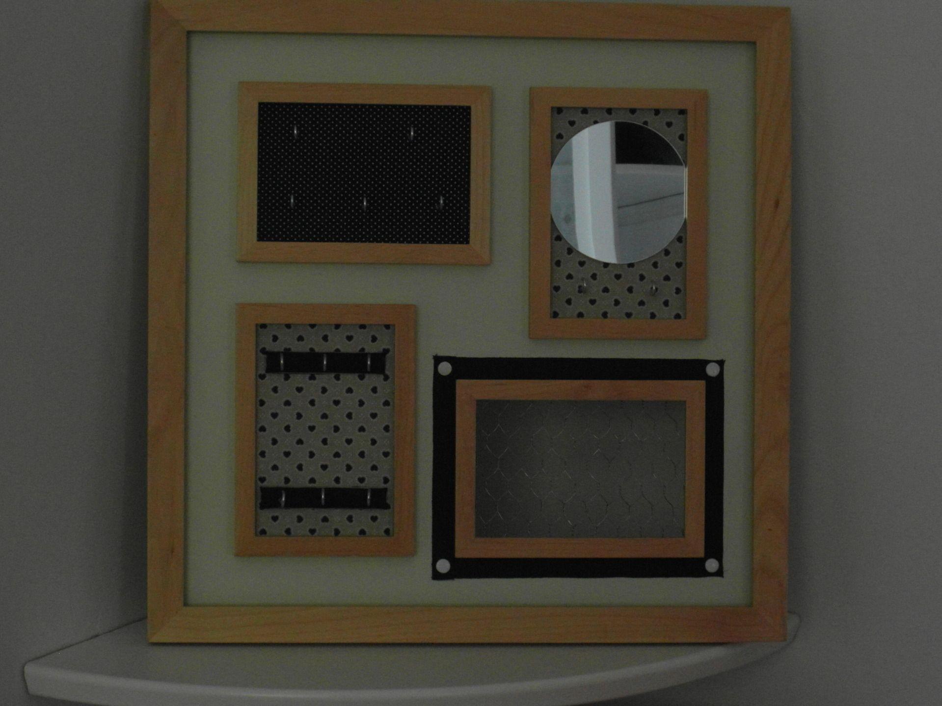 Porte Bijoux Cadre Carré Avec Petit Miroir Originale Décorations