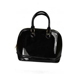 d46041f6cb Dámska čierna lakovaná kabelka so zlatým zipsom - malá