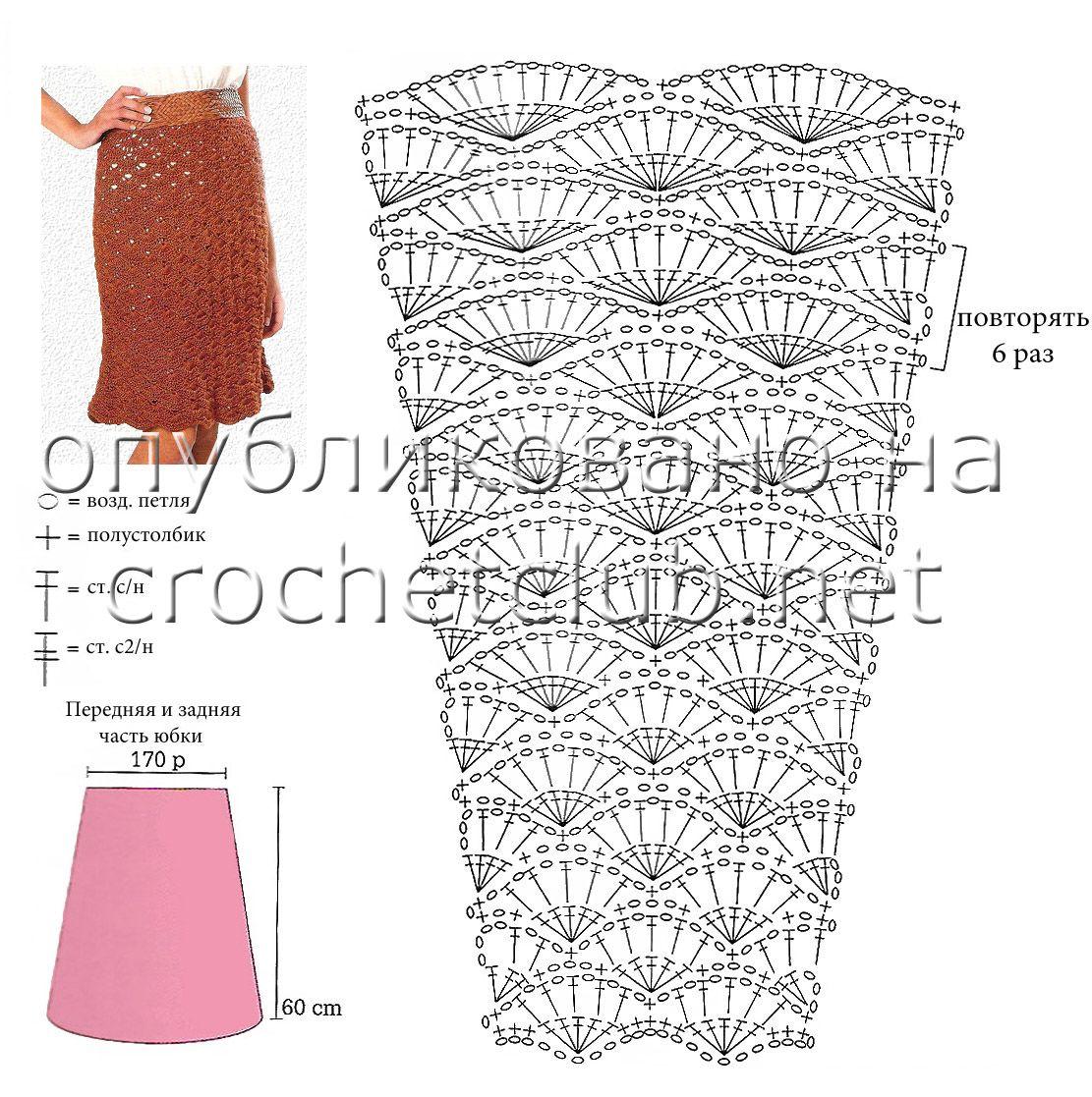 Узор крючком для юбки со схемой