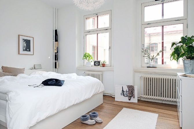 Scandinavian Apartment with a Green Touch via Purodeco #bedroom
