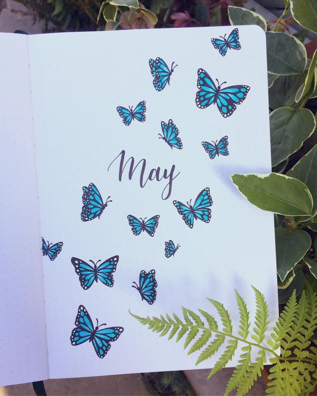 May Blue Butterflies Bullet Journal Cover Page