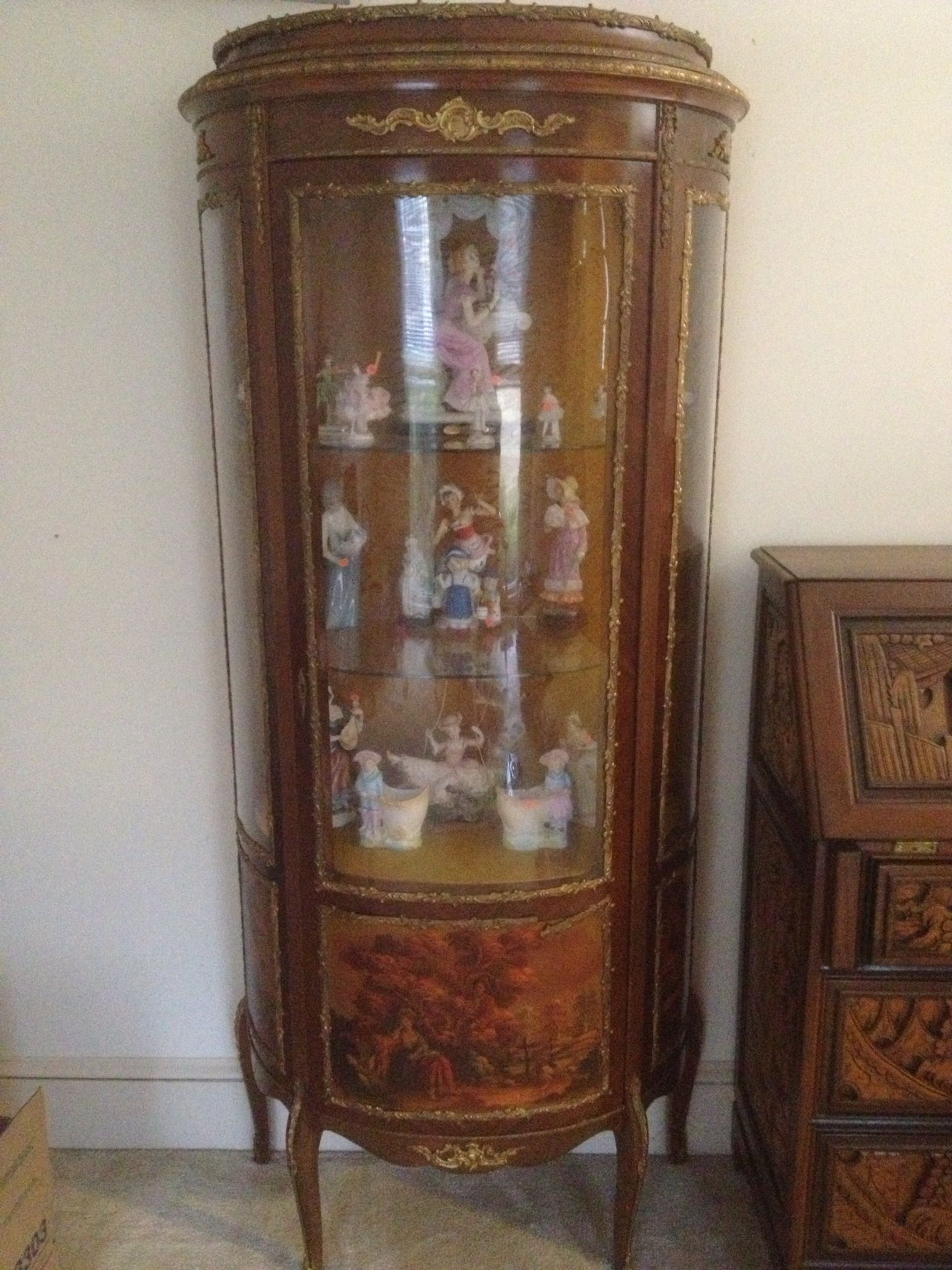 Antique Curio Cabinet filled with Dresden Dolls - Antique Curio Cabinet Filled With Dresden Dolls Design A House