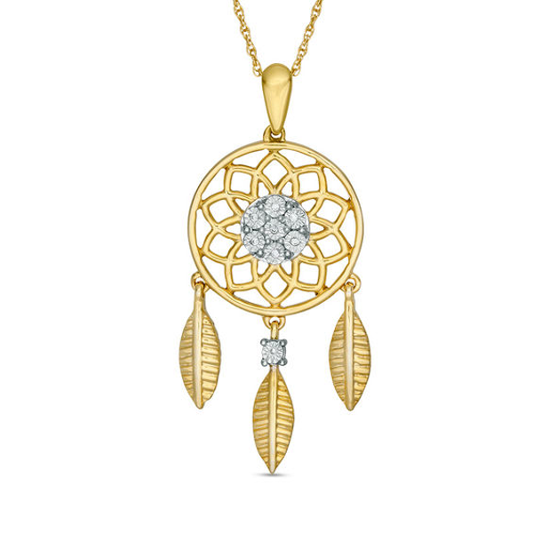 Sterling Silver /& Gold Dreamcatcher Pendant /& Necklace