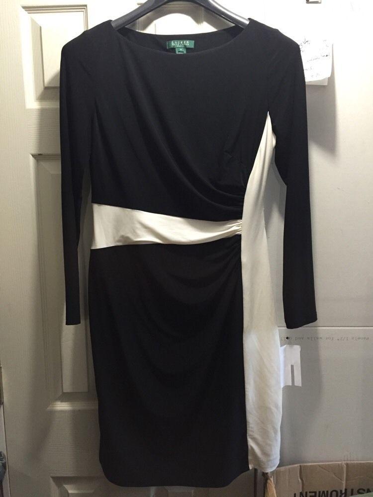 Lauren Ralph Lauren Women's Color Blocked Matte Jersey Two Tone Dress Size 14 #LaurenRalphLauren #Sheath #WeartoWork