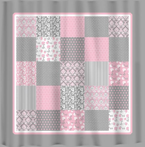 French Country Patchwork Shower Curtain Pink Grey By Redbeauty 7800