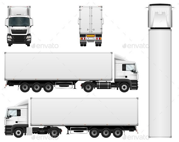 vector truck trailer template isolated on white background cargo