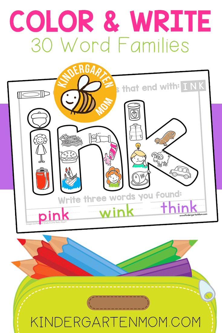 Color And Write This Is A Simple And Fun Activity For Listening And Writing Students Find The Pic Word Family Worksheets Word Families Word Work Kindergarten [ 1102 x 735 Pixel ]