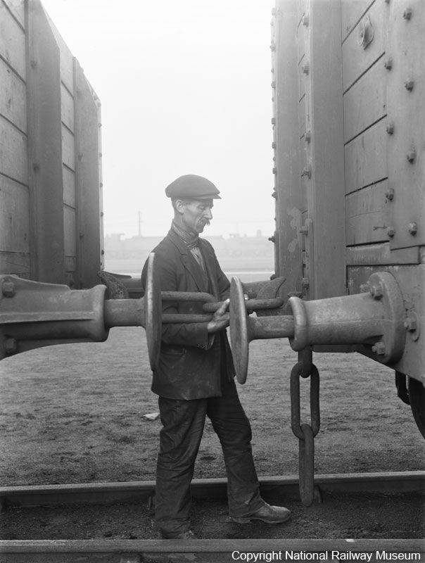 Shunter Coupling Wagons At Doncaster Works 1930 Shunting